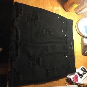Denim mini skirt (black)